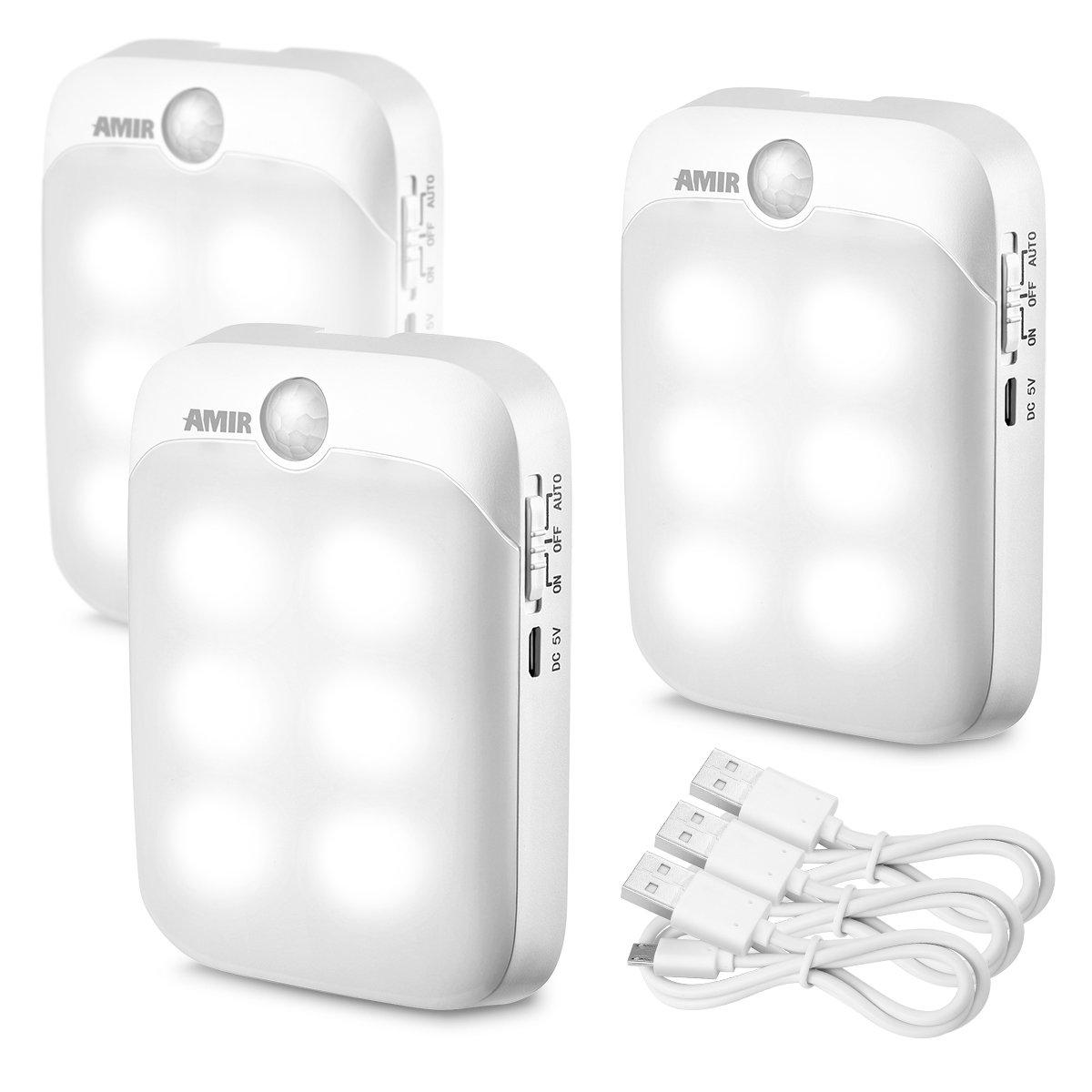AMIR LED Nachtlicht, LED Bewegungsmelder Licht, USB Wiederaufladbar Nachtlicht, AUTO/ON/OFF Lichter mit Licht sensor für den Schrank oder die Flur, Schlafzimmer, Küche, Camping, Grill, etc. Küche