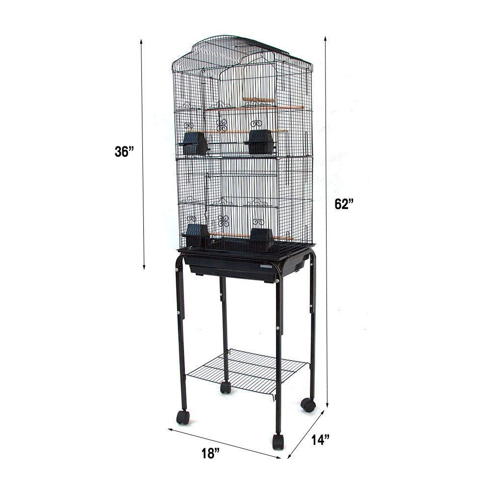 Mcage 2 Color, Large Canary Parakeet Cockatiel Lovebird Finch Roof Top Bird Cage with Stand -18''x14''x63'' by Mcage