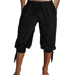 Amazon.com: Pantalones cortos de lino de algodón para hombre ...