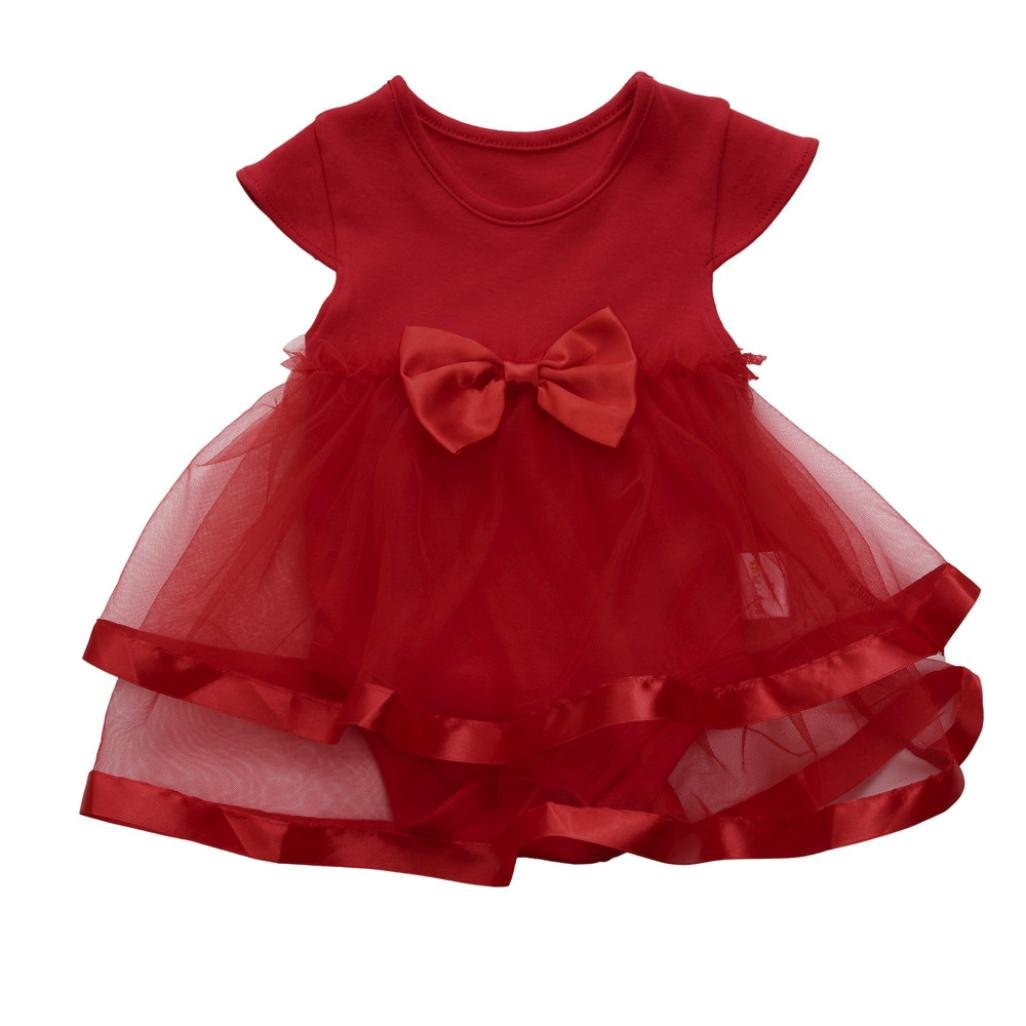 Vincent& July Baby Girls Tutu Bow Party Jumpsuit Princess Romper Dress, 0-24Months
