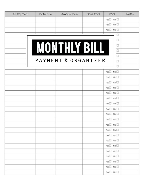 Monthly Bill Payment Organizer Money Debt Tracker Simple