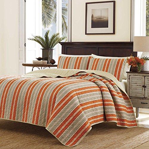 Tommy Bahama Tommy Stripe Quilt Set, King, Melon Melon Bedding Set