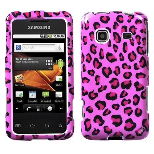 Pink Leopard Skin Phone Protector Faceplate Cover For SAMSUNG M820(Galaxy Prevail)