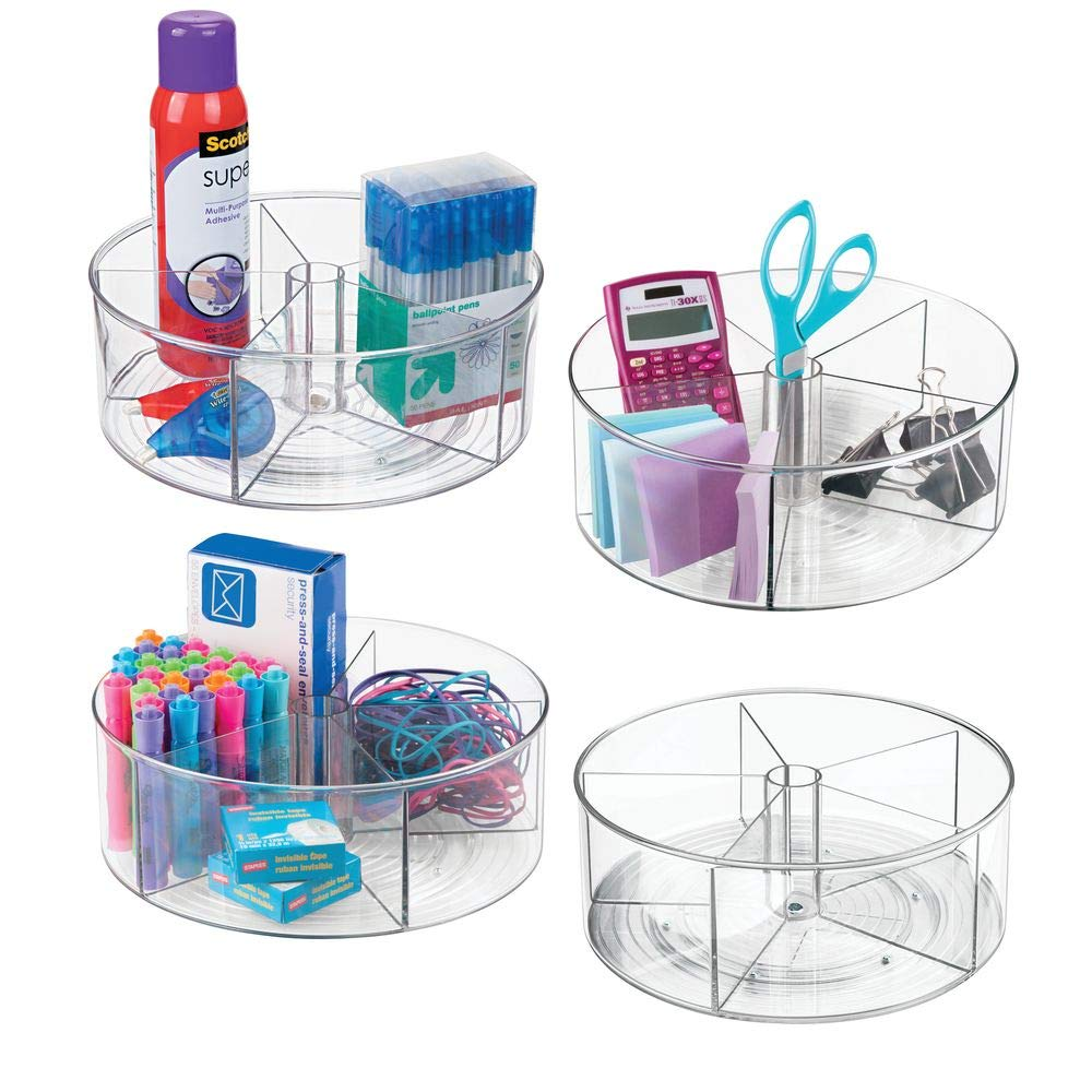 mDesign Deep Plastic Lazy Susan Turntable Storage Container - Divided Spinning Organizer for Home Office Supplies, Pens, Erasers, Tape, Colored Pencils - 4 Pack - Clear by mDesign