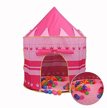 sports shoes 9d9ec 37f1d Amazon.com : ELEOPTION Portable Pink Fairy Princess Castle ...