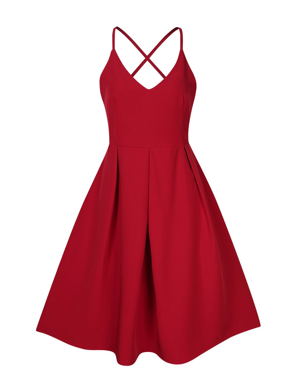 GlorySunshine Women's Deep V Neck Adjustable Spaghetti Straps Dress Sleeveless Sexy Backless Cocktail Party Dresses (S, Red2) by GlorySunshine