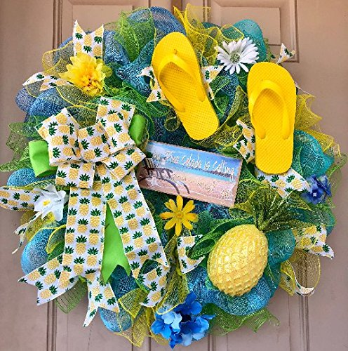 94755eb05 Pineapple Pina Colada Summer Wreath with Glittered Pineapple