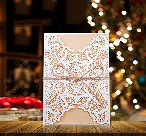 50pcs Wedding Bridal Shower Invitation Cards DIY [Floral Lace Cover + Kraft Paper + Jute Twine] Blank Party Invite Template for Birthday Baptism Christmas Christening Anniversary (Rectangle 1)