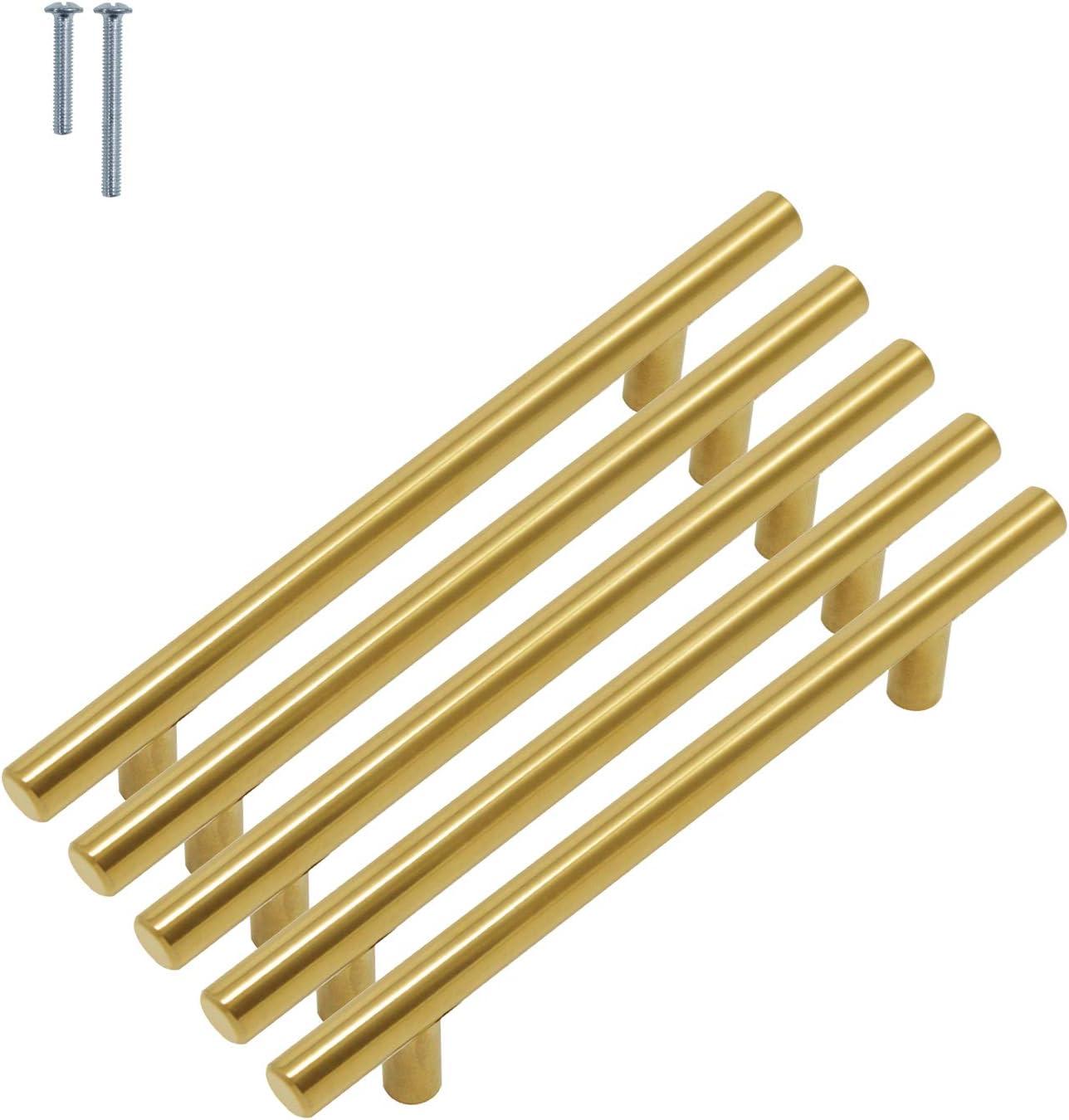 256 mm Probrico barre de porte boutons de portes en T pour meubles de cuisine 64 mm 76 mm Poignee de Meuble Laiton 96 mm 128 mm 192 mm 224 mm 160 mm 9 tailles : 50 mm acier inoxydable