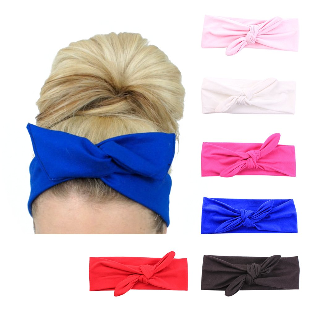 6 Pack Women's Rabbit Ear Headbands Turban Headwraps Accessories for Sports Running Lolitarcrafts