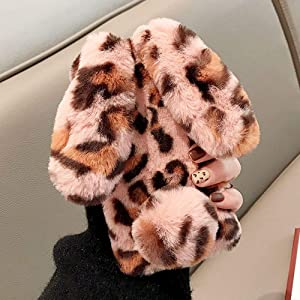 for iPhone 6 Plus iPhone 6S Plus Soft Rabbit Leopard Print Case, Luxury Cute Bunny Ears Soft TPU Case with Bling Diamond Silicone Case Fluffy Winter Protective Back Bumper Chic Plush Case Cover-Pink