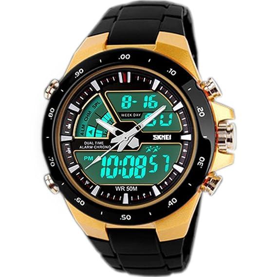 111fe215f96b SunJas Reloj Deportivo para Hombres Resistente contra Agua de 50m Pulsera  Digital con Luces Banda Desmontable