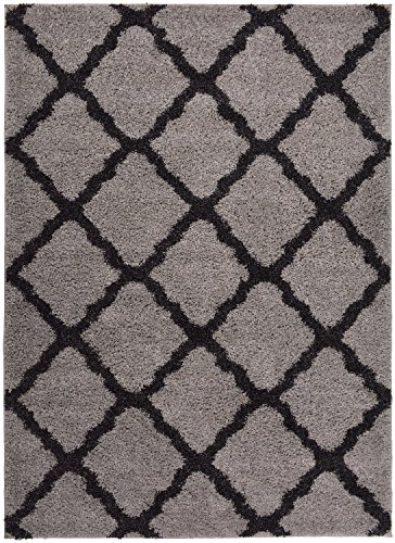 RugStylesOnline SOHO Shaggy Collection Trellis Lattice Design Shag Area Rug Rugs 3 Color Options, Grey Soho Living Room