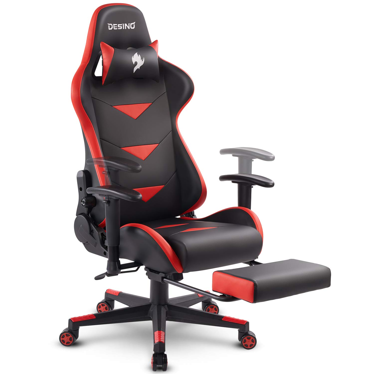DESINO Gaming Chair Racing Style High Back Computer Chair Swivel Ergonomic Executive Office Leather Chair with Footrest, Adjustable Armrests and Lambar Support (Red)