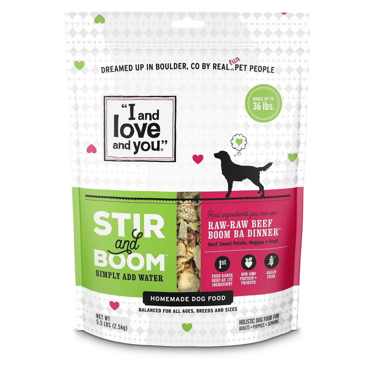 I and love and you, Stir & Boom, Raw Raw Beef Boom, Ba' Homemade Freeze Dried, Grain Free Dehydrated Dog Food, 5.5 LB – Makes 36 lbs. of Wet Food (Packaging May Vary)