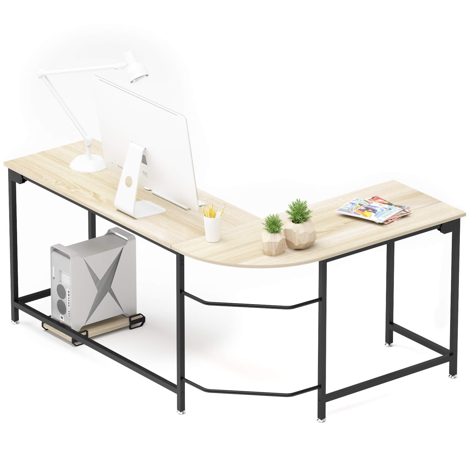 Wooden Corner Computer Desk Home Office L-Shaped Study Gaming Table With Shelves