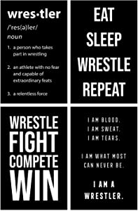 Damdekoli Motivational Wrestling Posters - 11x17 Inches, Set of 4