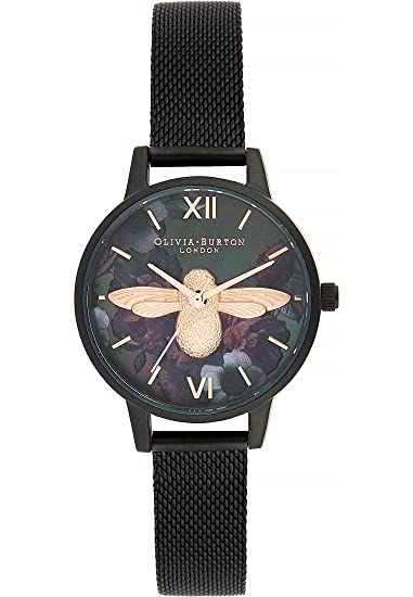 Olivia Burton Reloj de Pulsera analógico Cuarzo One Size, Negro, Negro