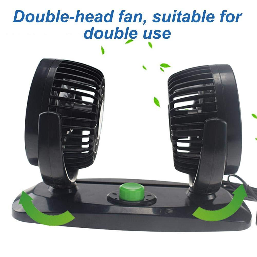 Nicololfle USB Autol/üfter Fan 360 Rotating Free Adjustment 12V Dual Head Autol/üfter 2 Geschwindigkeit Einstellbar Leise Sommerl/üfter F/ür Das Auto Home Office