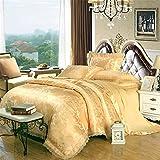 Abreeze Damask Duvet Cover Set 100% Cotton Bedding Rose Floral Duvet Cover Sets Gold Bedding Collections 4pcs, Full Size