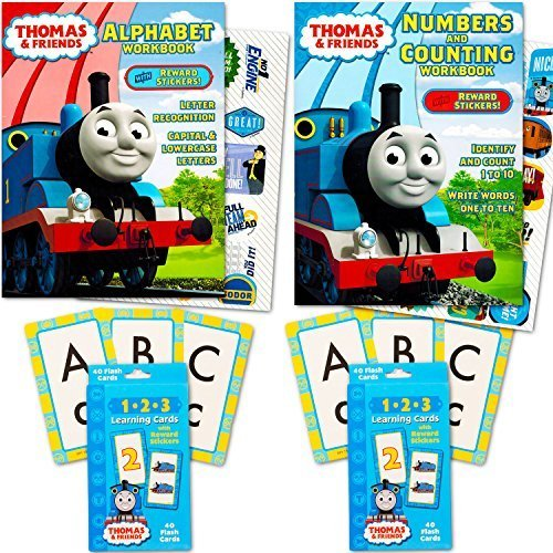 Thomas the Train Flash Cards and Workbook Super Set Toddler Kids -- 2 Workbooks (Alphabet and Numbers), ABC Flash Cards, Numbers Flash Cards, Reward (Thomas Train Characters)
