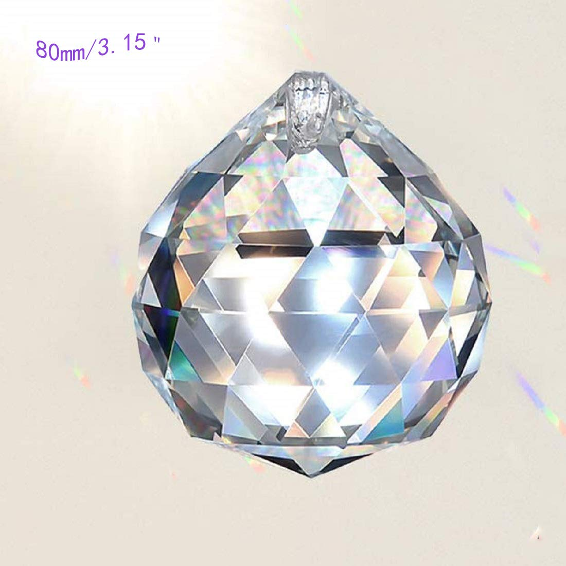MerryNine Clear Crystal Ball Prism Suncatcher Rainbow Pendants Maker, Hanging Crystals Prisms for Windows, for Feng Shui, for Gift(80mm/3.15'' 1pack)