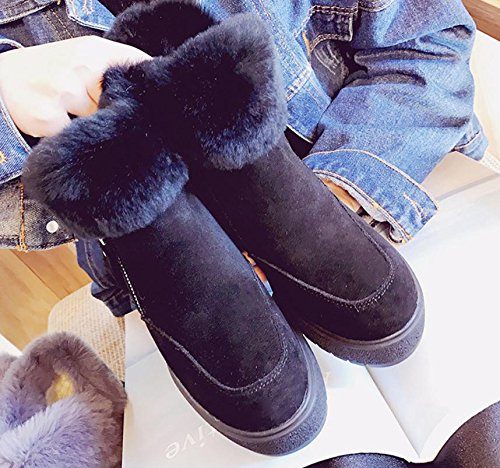 botas altas de las botas dentro de de NSXZ de cuero terciopelo zapatos piel de mate cuero además muy conejo de femeninos 120W xYxqP7v