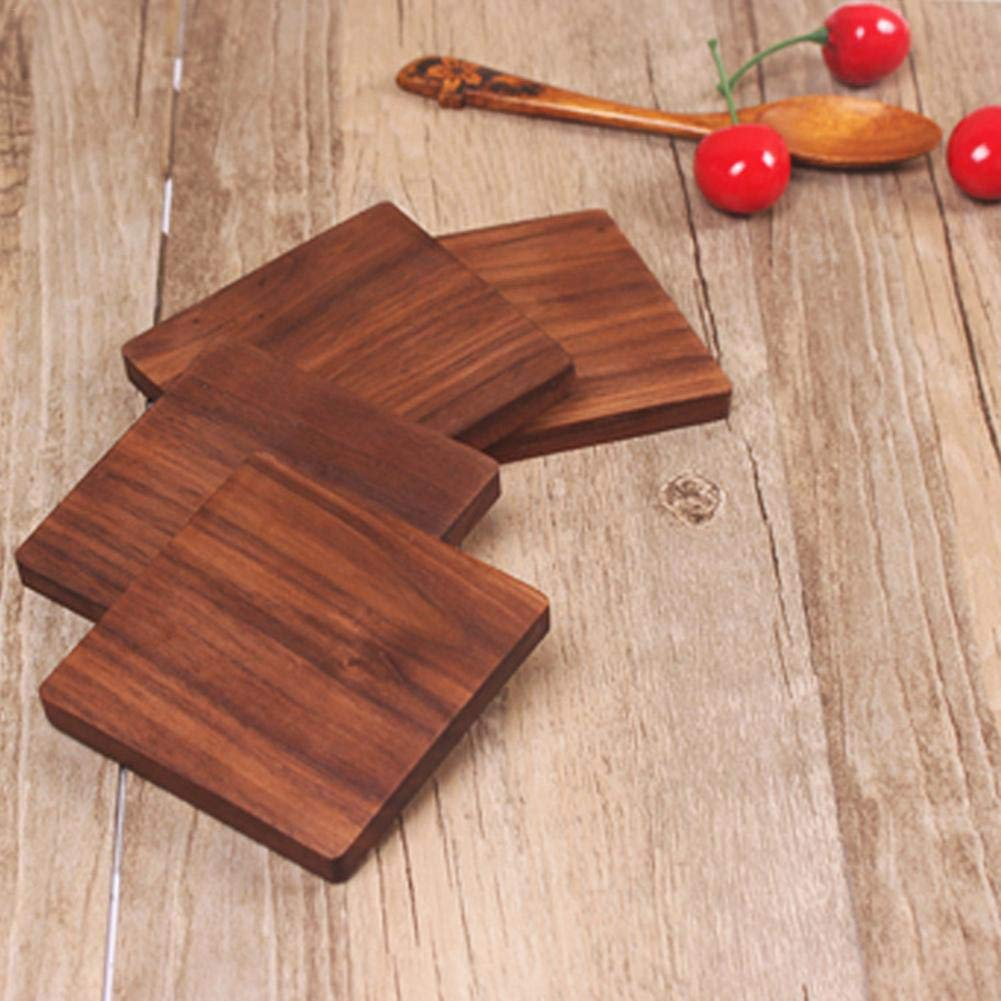 Shantan Heat Insulation Wooden Tea Coffee Cup 5pcs Coaster Ceremony Accessories Decor Walnut Square Thickening Placemat Coasters Holder Mat Pads for Drinks Beech Bowl Set Kitchen Pot Table Dish Trays by Shantan (Image #4)