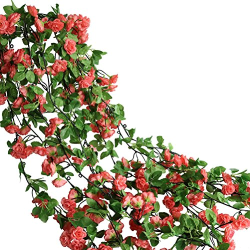 Htmeing Rose Garland Artificial Rose Vine with Green Ivy Leaves 67 Inch Flower Garland For Home Hanging Wedding Decor,Pack of 2 (dark pink)
