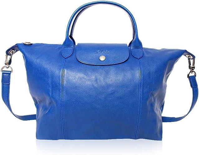 Longchamp Sac poignée de main le pliage cuir sac bleu: Amazon.fr ...