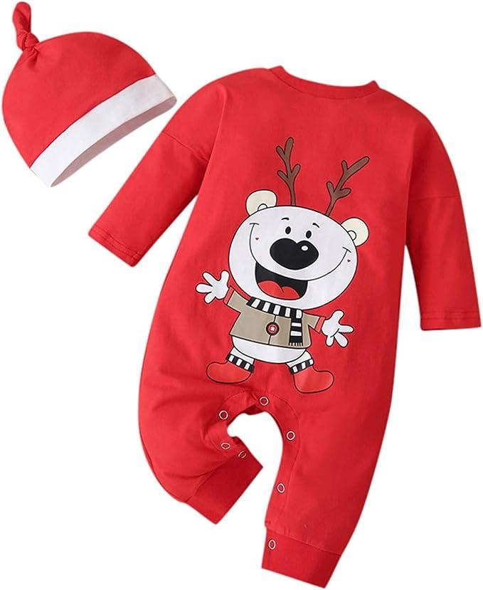 Ansenesna Weihnachten Baby Kleidung Set M/ädchen Baumwolle Kleid und Weihnachtsm/ütze Christmas Outfit