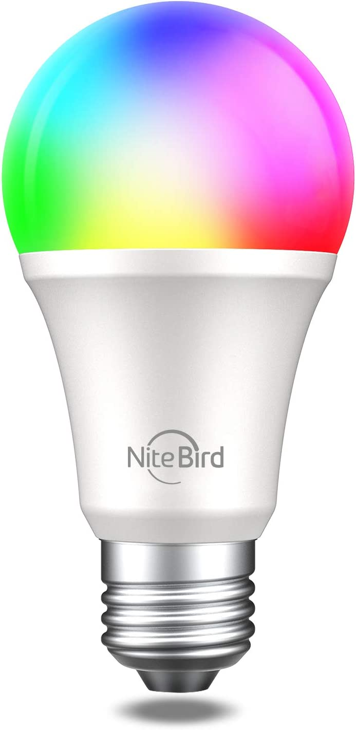 LED Light Bulbs Dimmable,Smart LED RGB Color Changing WiFi Bulb,Compatible with Alexa and Google Home Assistant, No Hub Required, A19 E26 Multicolor NiteBird 1 Pack