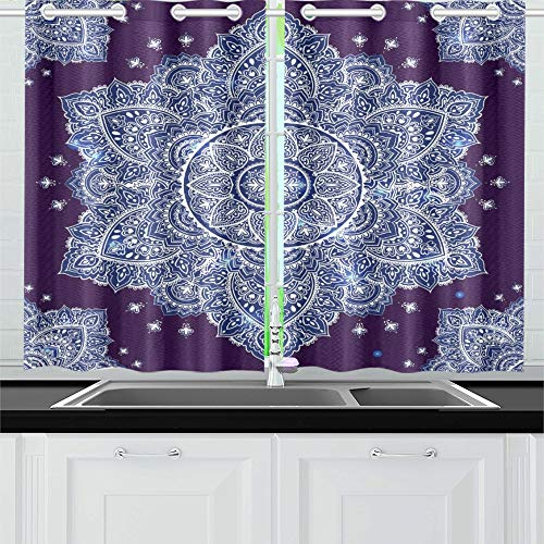 Tier Two Arabesque - ENEVOTX Beautiful Indian Floral Ornament Ethnic Mandala Kitchen Curtains Window Curtain Tiers for Café, Bath, Laundry, Living Room Bedroom 26 X 39 Inch 2 Pieces