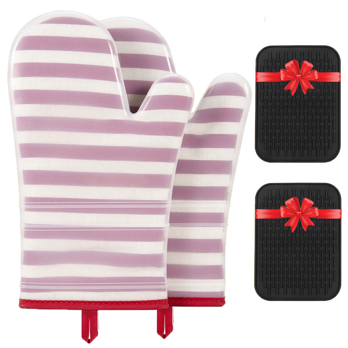 OUZIFISH Silicone Oven Mitts and Potholders for Free (1 Pair), Quilted Cotton Lining Oven Mitts Heat Resistant 500 Degrees, Non-Slip Extra Long Silicone Trivets Mat Set, Red
