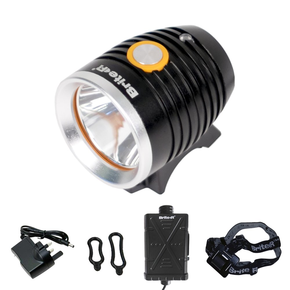 Brite-R® Selector CREE LED Bicycle Headlight, Single Touch Beam Selector, 4800mAh USB Battery Powerbank & QR Mount BR-BL850