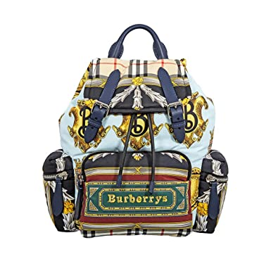 086c12c12d52 Image Unavailable. Image not available for. Color  Burberry Archive Scarf  Print Medium Rucksack- Ink Blue