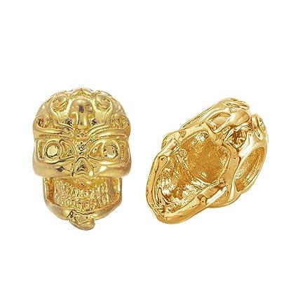 Pandahall 2pcs Golden Plated Brass Skull BeadsHalloween Gothic Large 3-Hole  3D Side-Drilled 8f238595fec7