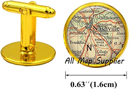 Nashville Tennessee Map Cufflinks