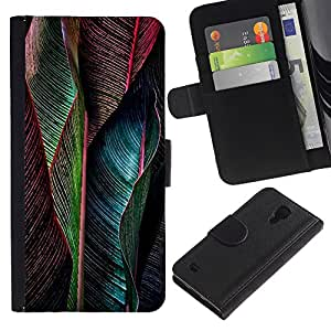 EuroTech - Samsung Galaxy S4 IV I9500 - Peacock Feather Vibrant Teal Green - Cuero PU Delgado caso Billetera cubierta Shell Armor Funda Case Cover Wallet Credit Card