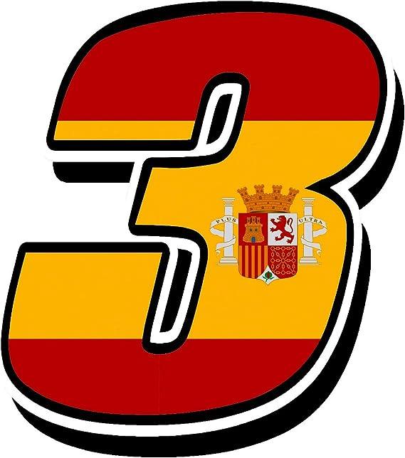 Biomar Labs® Número 3 Bandera Nacional España Spain Calavera Vinilo Adhesivo Pegatina Coche Auto Motocross Moto Sport Start Racing Tuning N 283: Amazon.es: Coche y moto