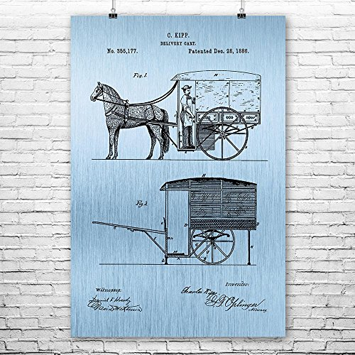 (Horse Drawn Carriage Poster Print, Horse Buggy, Equestrian Gift, Country Western, Horse Lover, Farmer Gift, Rustic Ranch Blue Steel (5