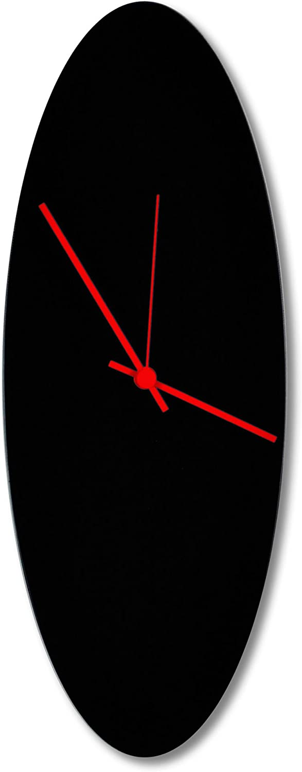 Contemporary Black Clock 'Blackout Red Ellipse Clock' Minimalist Metal Wall Clocks, Midcentury Modern Decor - 18x7in. Black w/Red Hands