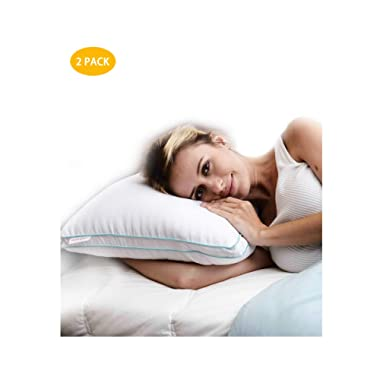 Homelike Moment Goose Feather Down Pillows for Sleeping 2 Pack Bed Pillow Standard Queen Size Pillows Set of 2 Hypoallergenic Gusseted