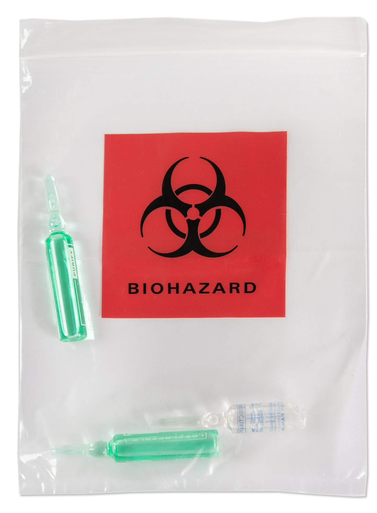 APQ Pack of 100 Biohazard Specimen Bags, Red and Black 6 x 9. Zipper Lockig Clear Bags 6x9. Thickness 2 mil. Printed Transport Bags 3 Wall for Packaging Medical Specimens. Attached Document Pouch. by APQ Supply