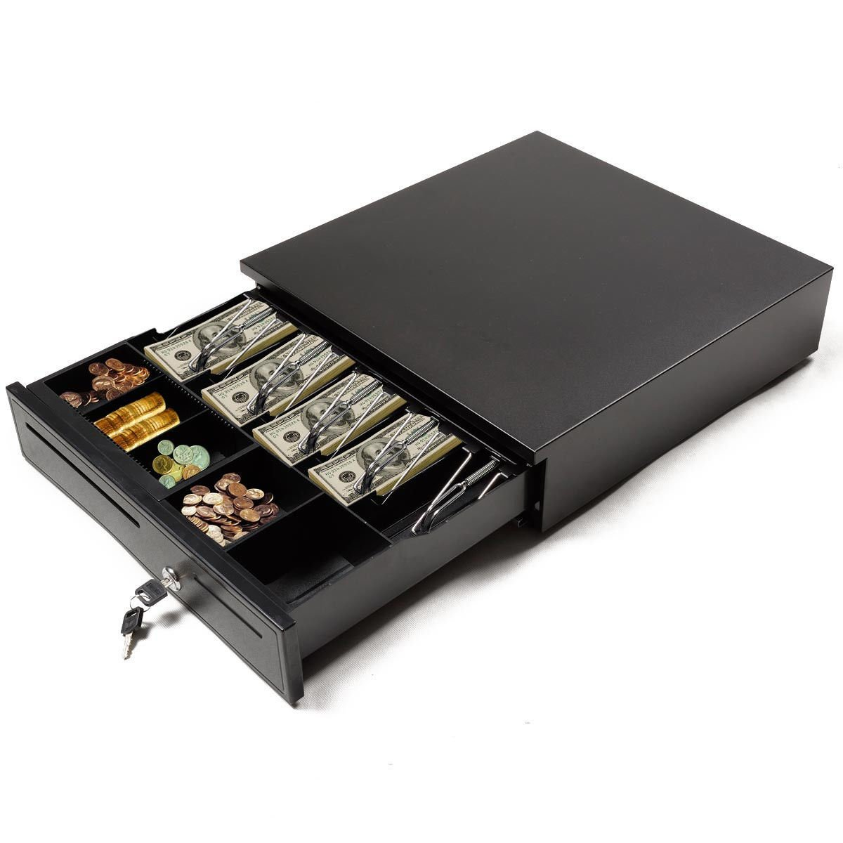 GHP Black 3-Position Key Lock Cash Drawer w Bill Tray & Coin Compartment