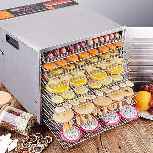 CHEFJOY 10-Tray Electric Food Dehydrator Stainless Steel /w Blower Jerky Fruit Vegetable Preserve (10 Tray Food Dehydrator)