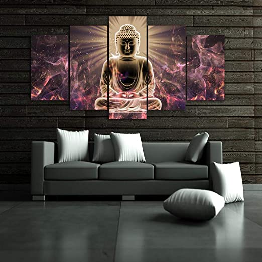 God Shiva Sky Meditation 5 Piece Canvas Wall Art Picture Print Poster Home Decor