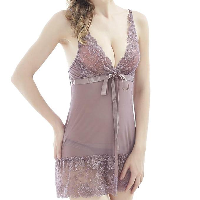 Lenfesh Lencería Correa Sexy Femenina Pijamas Salto de Cama Babydoll Camisones Encaje con Cordón para Mujer