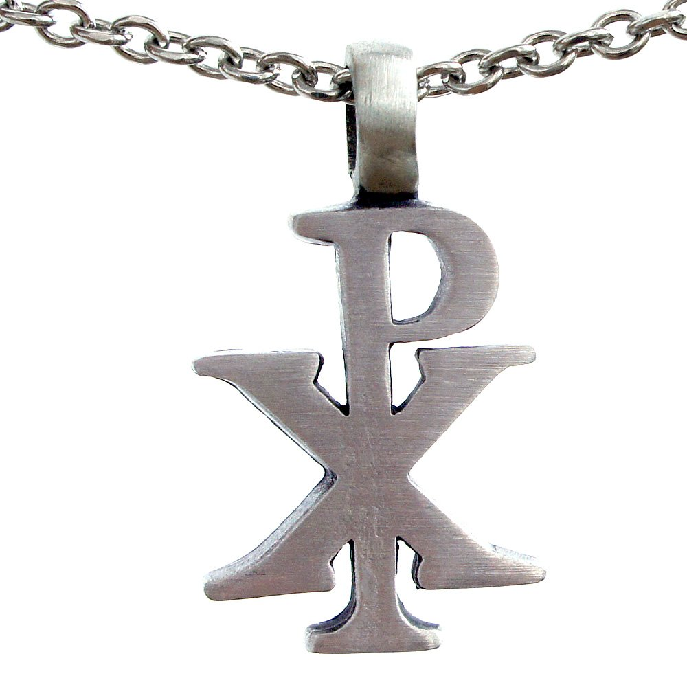 The Chi Rho PX Christogram symbol silver pewter pendant W Necklace (Stainless Steel Chain)