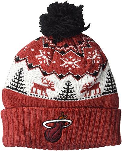 - NBA Miami Heat Reindeer Cuffed Pom Knit,Miami Heat,Garnet,One Size